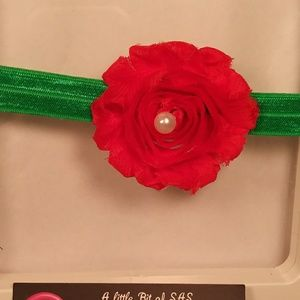 Other - Infant red shabby chic flower with green headband